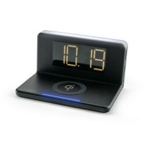 Caliber Alarm Clock Radio With Qi Wireless Charging Pad & USB Output - Black