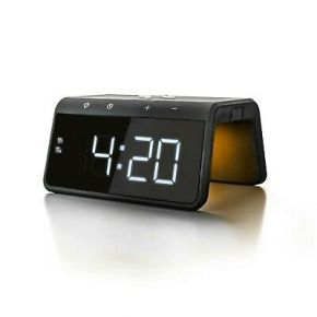 Caliber Alarm Clock With Qi Wireless Charging Pad & USB Output - Black