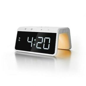 Caliber Alarm Clock With Qi Wireless Charging Pad & USB Output - White